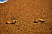 Fotspår på sandstrand