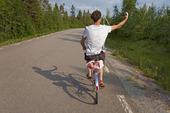 Cyklist tar en selfie
