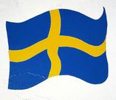 Målad svensk flagga