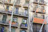 Husfasad i Barcelona, Spanien