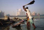 Tvättarkast vid Taj Mahal, Indien