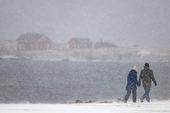 Par i snöoväder