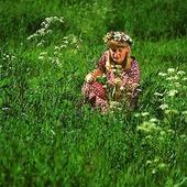 Flicka i blomsteräng