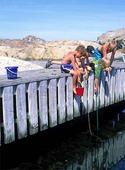 Barn fiskar krabbor