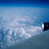 Japansk bergskedja från flygplan