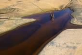 Människa speglas i vattensamling på klippa, Bohuslän