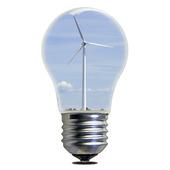 Vindkraftverk i glödlampa