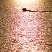 Motorbåt på glittrande hav