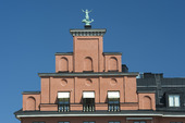 Trappstegsgavel på byggnad i Stockholm
