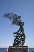 The Nike statue i Giardini Naxos på Sicilien, Italien