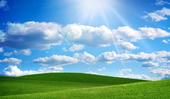 Gröna fält och blå himmel