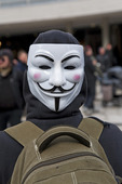 Demonstration med Guy Fawkes-mask
