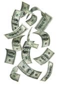 Fallande 100 dollars sedlar