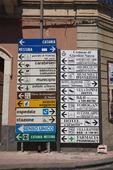 Informationsskylt i Taormina på Sicilien, Italien