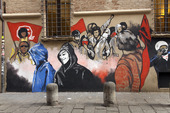 Graffiti wall art, Piazza Giuseppe Verdi, Bologna, Italien