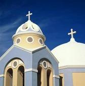 Kapell på Santorini, Grekland