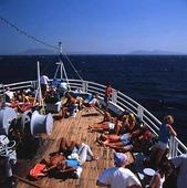 Båtluffare på färja, Grekland
