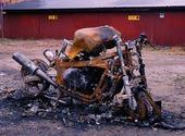 Motorcykel som brunnit