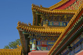 Takdetalj i Den föbjudna Staden. Peking, Kina