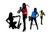 Kvinlig artist med saxofon, montage