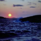 Solnedgång vid havskust