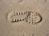 Skoavtryck i sand