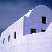 Byggnad på Santorini, Grekland
