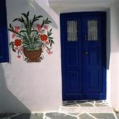 Väggmålning på hus, Grekland