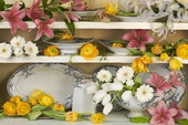 Hylla med porslin och blommor