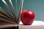 Rött äpple i bok