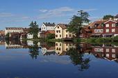 Trähus vid Eskilstuna ån