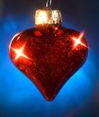 Rött julgranshjärta