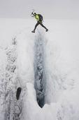 Klättrare på glaciär