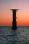 Fladens fyr i solnedgång, Halland