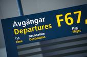 Informationsskylt på flygplats