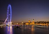 View of London at dusk, UK