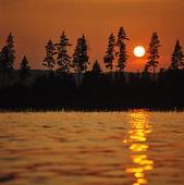 Solnedgång vid insjö