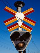 Skylt vid järnvägsövergång