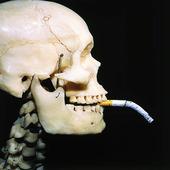 Dödskalle med cigarett