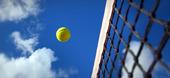 Tennisboll vid nätet på tennisbana