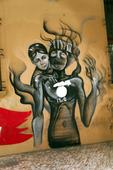 Graffiti wall art i Bologna, Italien