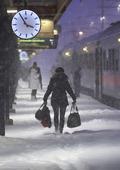 Snöoväder vid tågstation