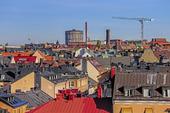 Utsikt över hustaken i Lärkstan, Stockholm