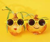 Två glada lökar med solglasögon
