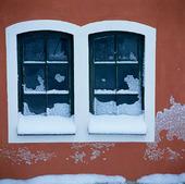 Snö på fönster