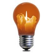 Glödlampa med stearinljus