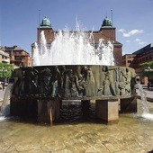 Sjuhäradsbrunnen på Stora Torget i Borås, Västergötland