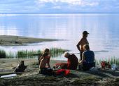 Familj på strand