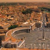 Utsikt över Petersplatsen i Rom, Italie