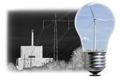 Kärnkraftverk och vindkraftverk i glödlampa